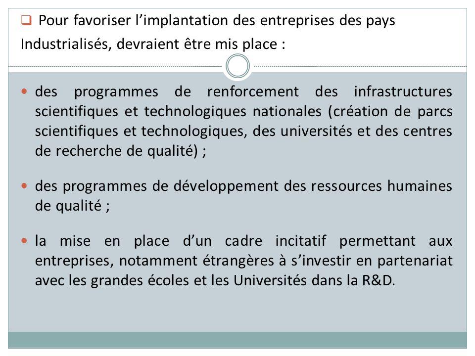 Pour favoriser limplantation des entreprises des pays Industrialisés, devraient être mis place : des programmes de renforcement des infrastructures sc