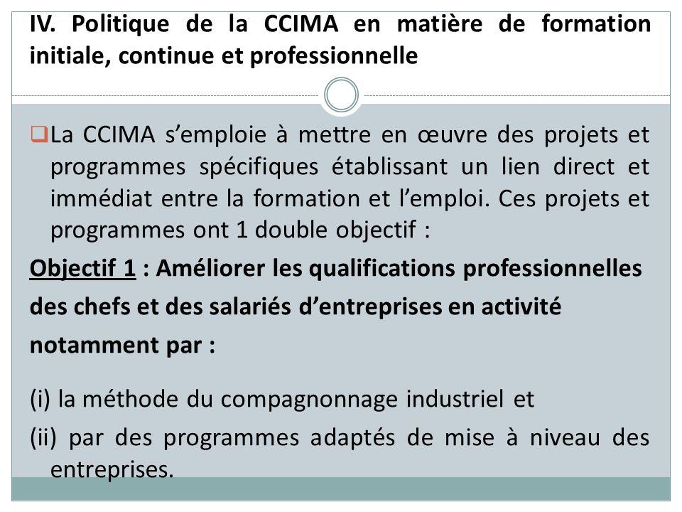 IV. Politique de la CCIMA en matière de formation initiale, continue et professionnelle La CCIMA semploie à mettre en œuvre des projets et programmes