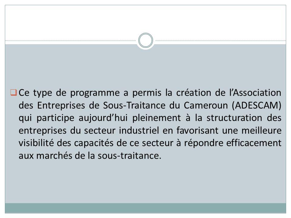 Ce type de programme a permis la création de lAssociation des Entreprises de Sous-Traitance du Cameroun (ADESCAM) qui participe aujourdhui pleinement