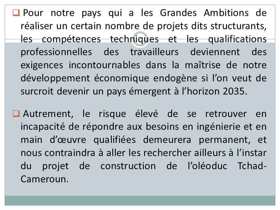 Pour notre pays qui a les Grandes Ambitions de réaliser un certain nombre de projets dits structurants, les compétences techniques et les qualificatio