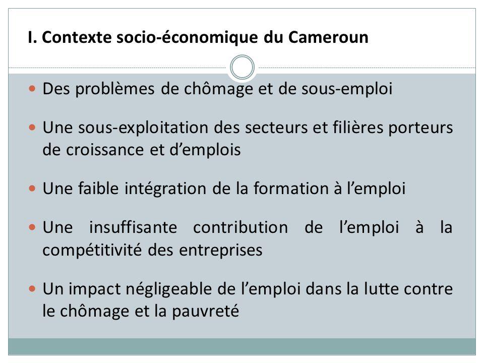 I. Contexte socio-économique du Cameroun Des problèmes de chômage et de sous-emploi Une sous-exploitation des secteurs et filières porteurs de croissa