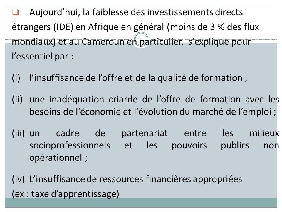 Aujourdhui, la faiblesse des investissements directs étrangers (IDE) en Afrique en général (moins de 3 % des flux mondiaux) et au Cameroun en particul