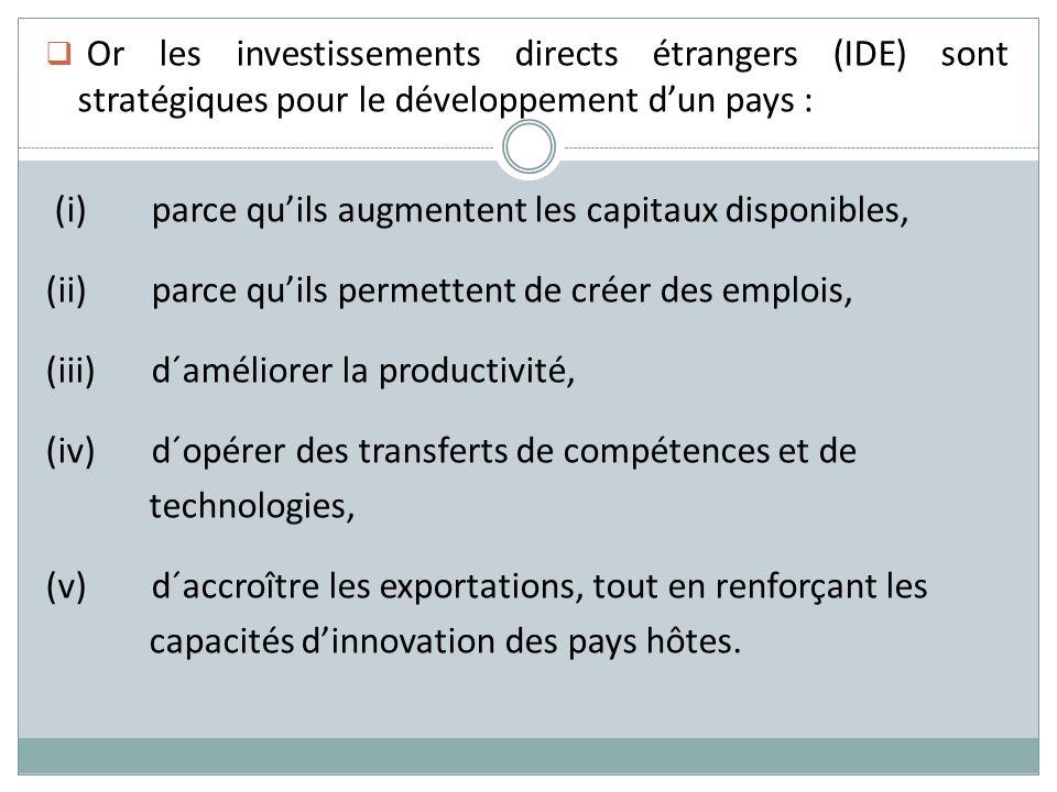 Or les investissements directs étrangers (IDE) sont stratégiques pour le développement dun pays : (i)parce quils augmentent les capitaux disponibles,
