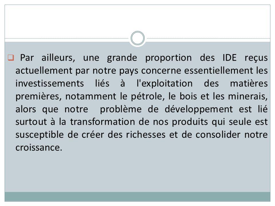 Par ailleurs, une grande proportion des IDE reçus actuellement par notre pays concerne essentiellement les investissements liés à l'exploitation des m
