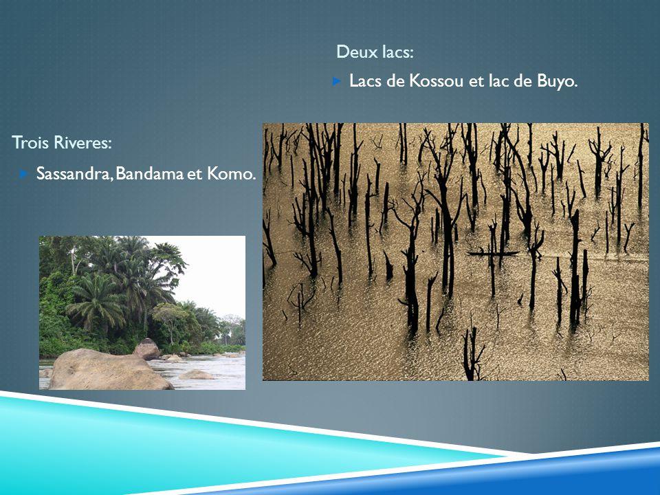 Trois Riveres: Deux lacs: Sassandra, Bandama et Komo. Lacs de Kossou et lac de Buyo.