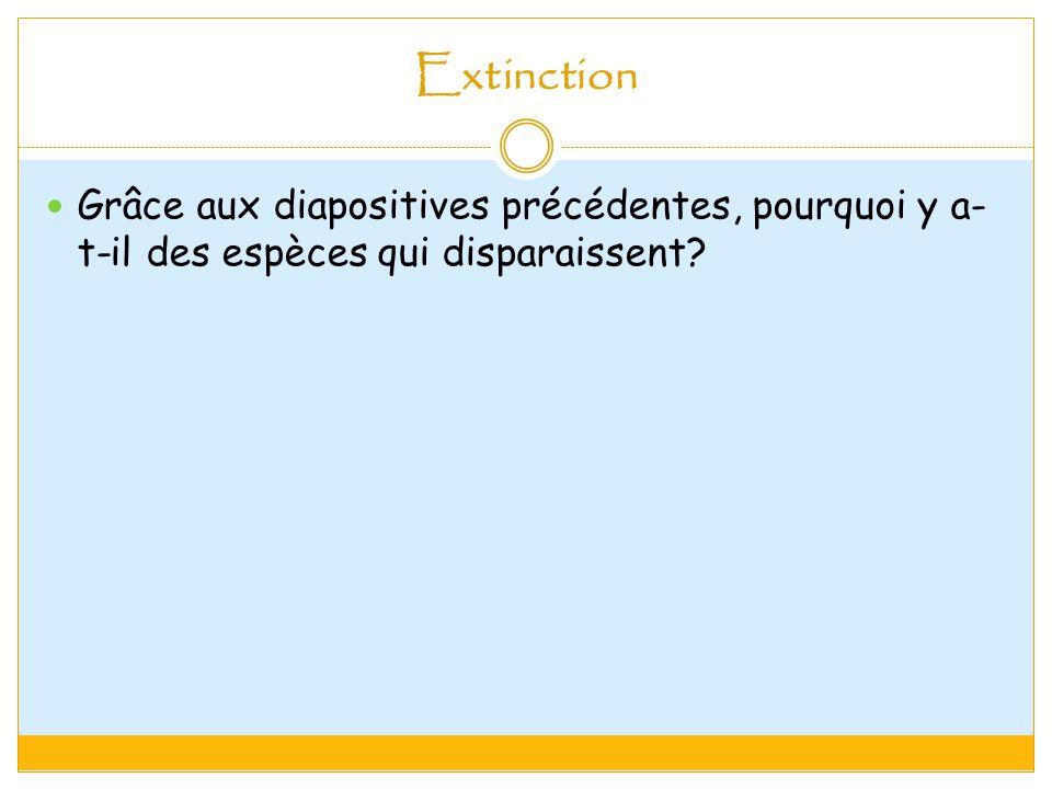 Extinction Grâce aux diapositives précédentes, pourquoi y a- t-il des espèces qui disparaissent?