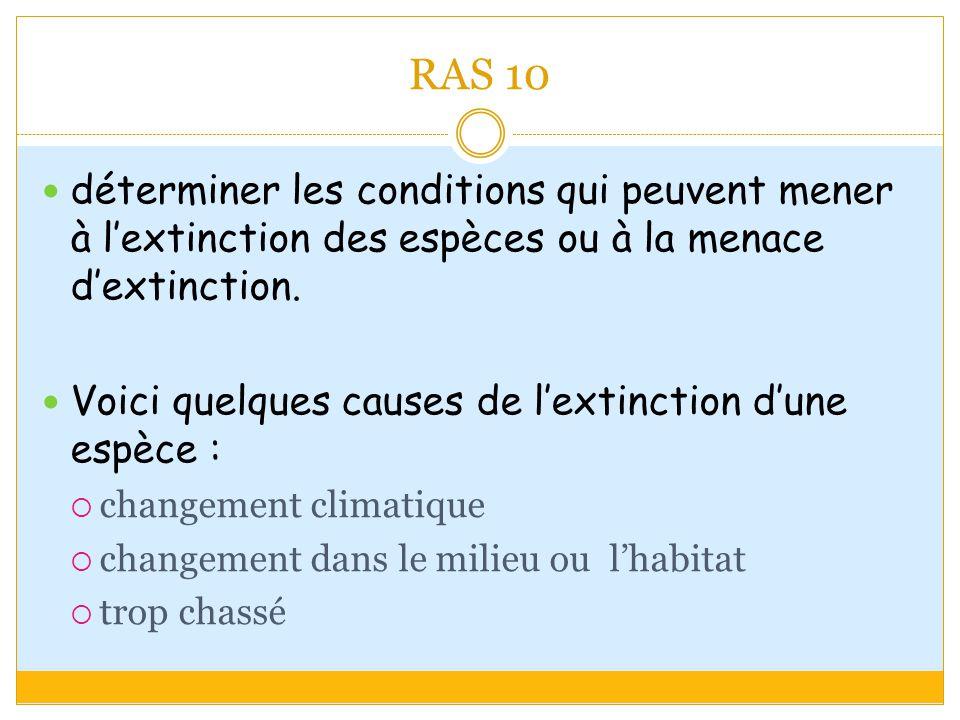 RAS 10 déterminer les conditions qui peuvent mener à lextinction des espèces ou à la menace dextinction.