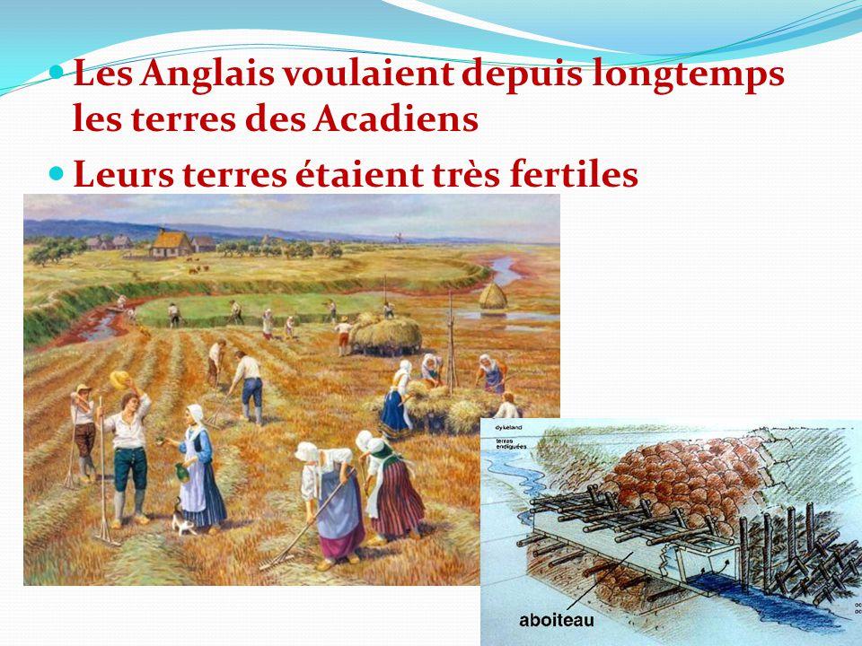 Les Anglais voulaient depuis longtemps les terres des Acadiens Leurs terres étaient très fertiles