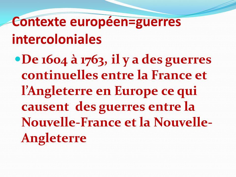 Contexte européen=guerres intercoloniales De 1604 à 1763, il y a des guerres continuelles entre la France et lAngleterre en Europe ce qui causent des