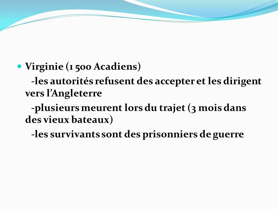 Virginie (1 500 Acadiens) -les autorités refusent des accepter et les dirigent vers lAngleterre -plusieurs meurent lors du trajet (3 mois dans des vie