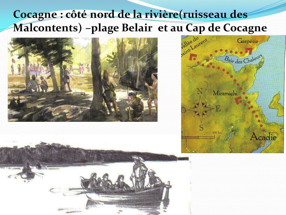 Cocagne : côté nord de la rivière(ruisseau des Malcontents) –plage Belair et au Cap de Cocagne