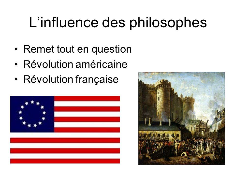 Les philosophes(117) Les philosophes contre la monarchie absolue –Individus ont des droits –Libertés –Séparation des pouvoirs (Montesquieu) –Démocrati