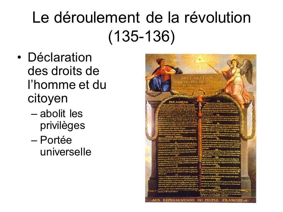 Le déroulement de la révolution (134-135) La prise de la Bastille Les paysans brûlent les châteaux