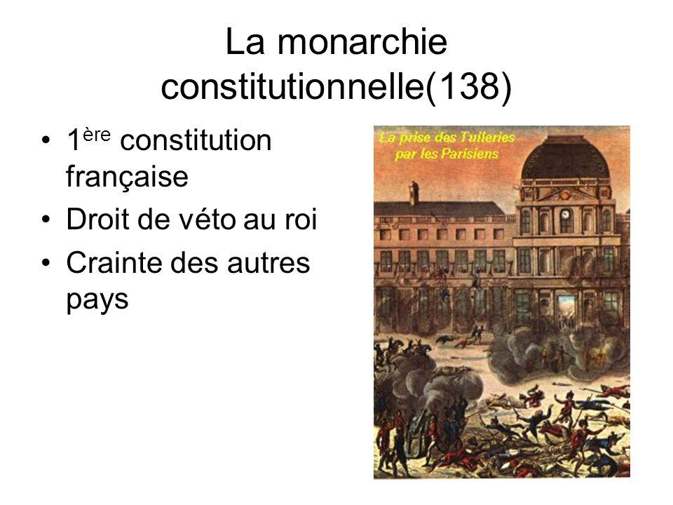 Le déroulement de la révolution (135-136) Déclaration des droits de lhomme et du citoyen –abolit les privilèges –Portée universelle