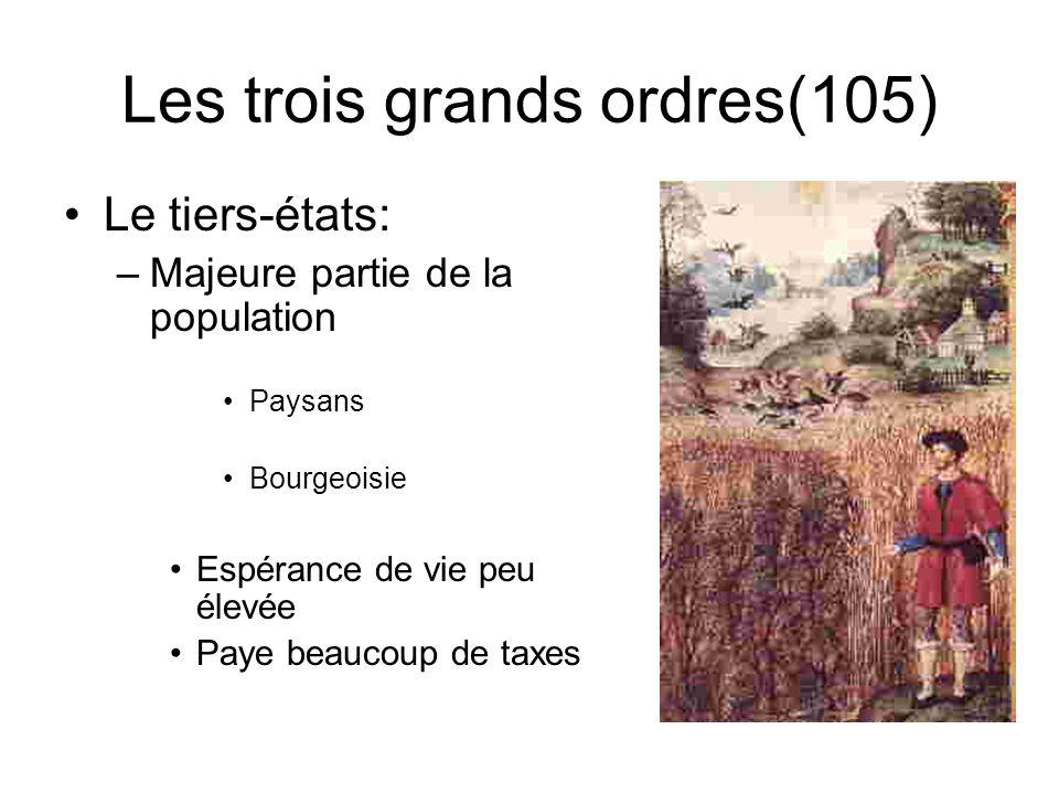 Les trois grands ordres(104) Le clergé: Rôle: –soccupe de religion et déducation Privilèges: –Bénéficie de la dîme (impôt sur les récoltes) –Paye très