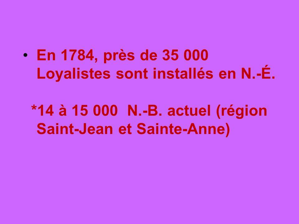 En 1784, près de 35 000 Loyalistes sont installés en N.-É. *14 à 15 000 N.-B. actuel (région Saint-Jean et Sainte-Anne)