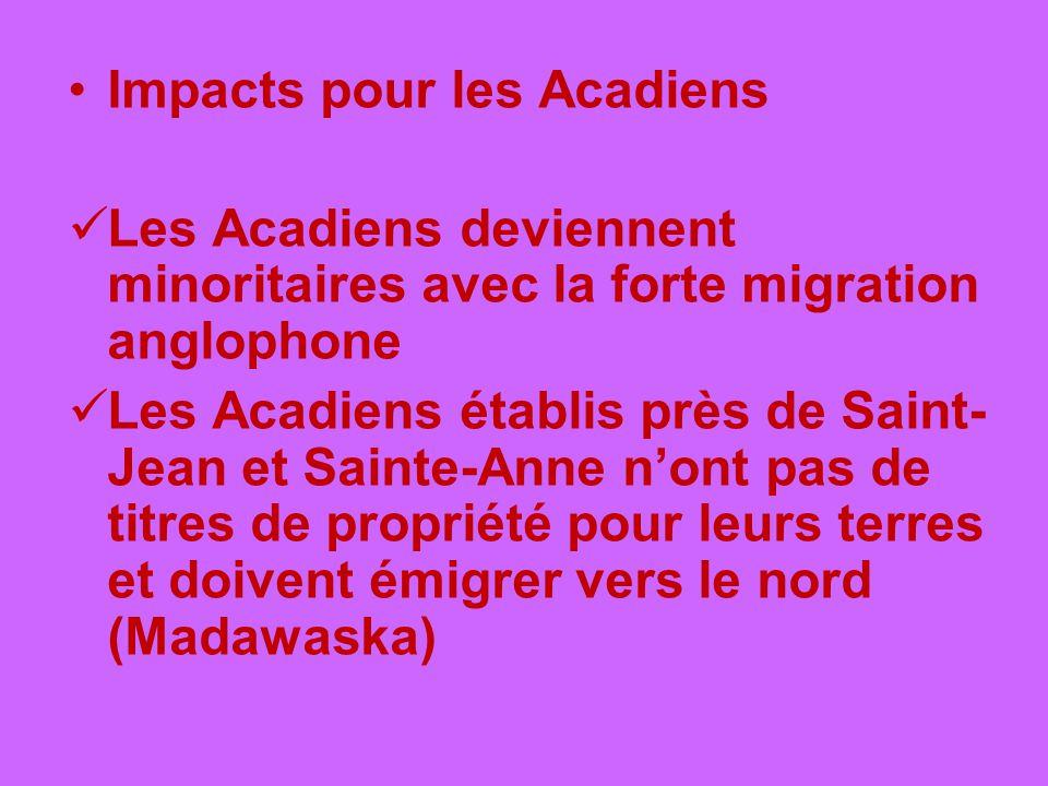 Impacts pour les Acadiens Les Acadiens deviennent minoritaires avec la forte migration anglophone Les Acadiens établis près de Saint- Jean et Sainte-A