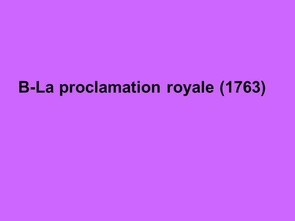 En 1763, le traité de Paris assure la victoire de lAngleterre Le territoire canadien est peuplée dune majorité française sous le contrôle dun gouvernement britannique