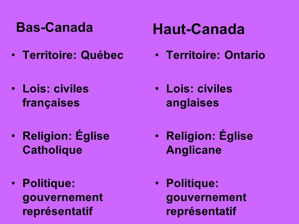 Bas-Canada Territoire: Québec Lois: civiles françaises Religion: Église Catholique Politique: gouvernement représentatif Haut-Canada Territoire: Ontar