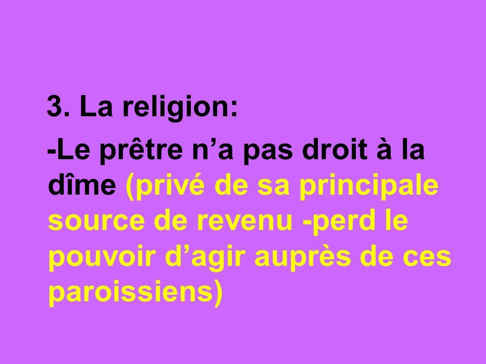 3. La religion: -Le prêtre na pas droit à la dîme (privé de sa principale source de revenu -perd le pouvoir dagir auprès de ces paroissiens)
