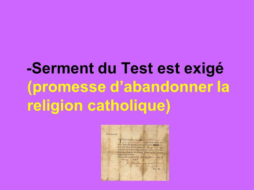 -les postes dans la fonction publique et dans larmée sont réservés à ceux qui signent le Serment du Test (enlève la possibilité davoir des postes dautorité)
