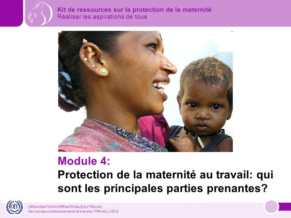 ORGANISATION INTERNATIONALE DU TRAVAIL Service des conditions de travail et demploi (TRAVAIL) 2012 Module 4: Protection de la maternité au travail: qui sont les principales parties prenantes.