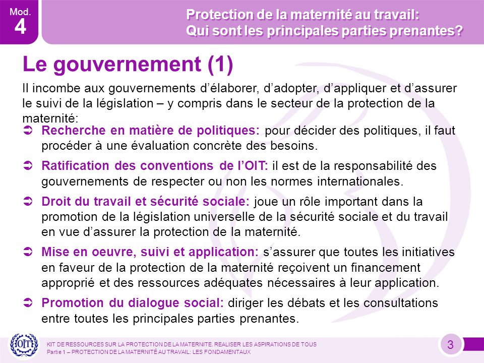 Mod. 4 KIT DE RESSOURCES SUR LA PROTECTION DE LA MATERNITE.