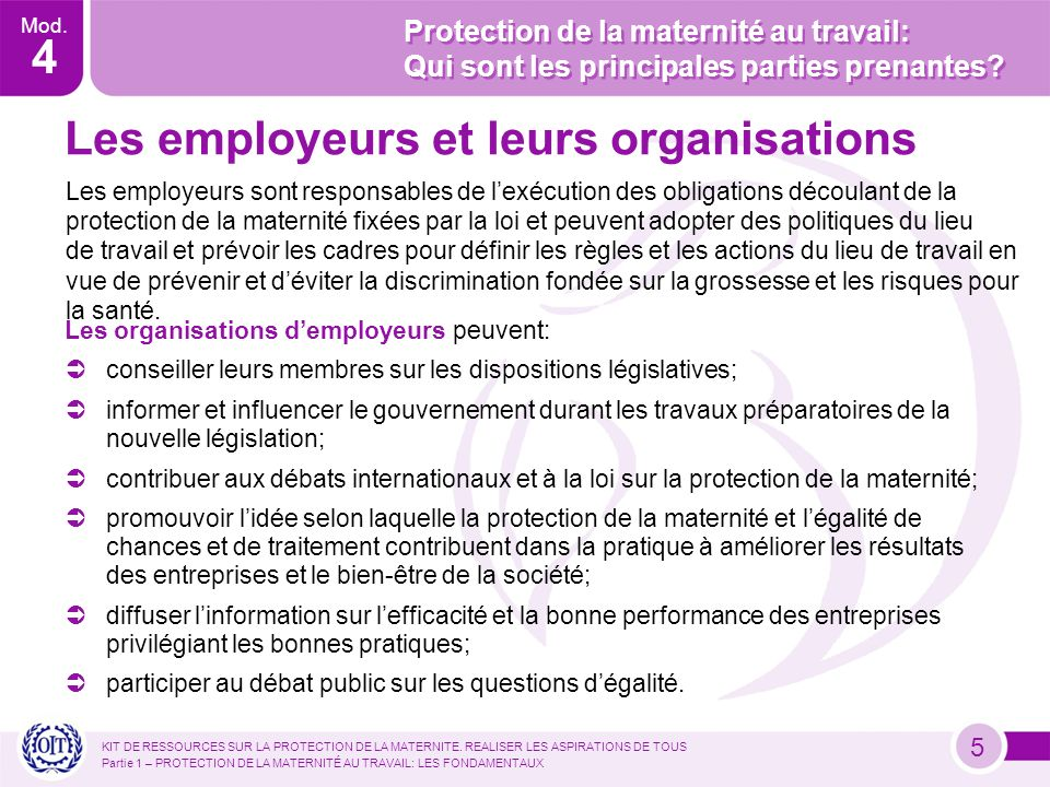 Mod.4 KIT DE RESSOURCES SUR LA PROTECTION DE LA MATERNITE.