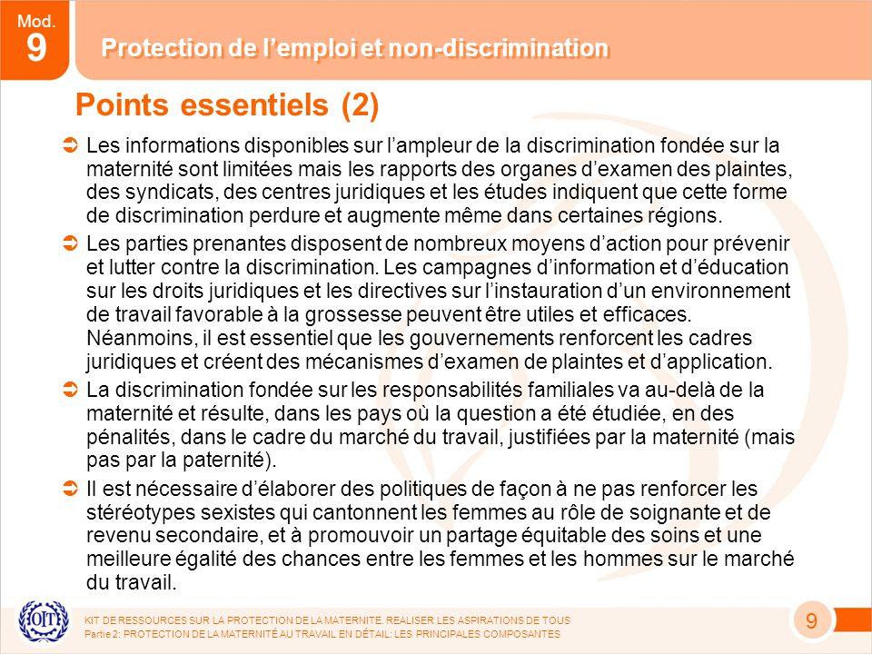 Mod. 9 Protection de lemploi et non-discrimination KIT DE RESSOURCES SUR LA PROTECTION DE LA MATERNITE. REALISER LES ASPIRATIONS DE TOUS Partie 2: PRO