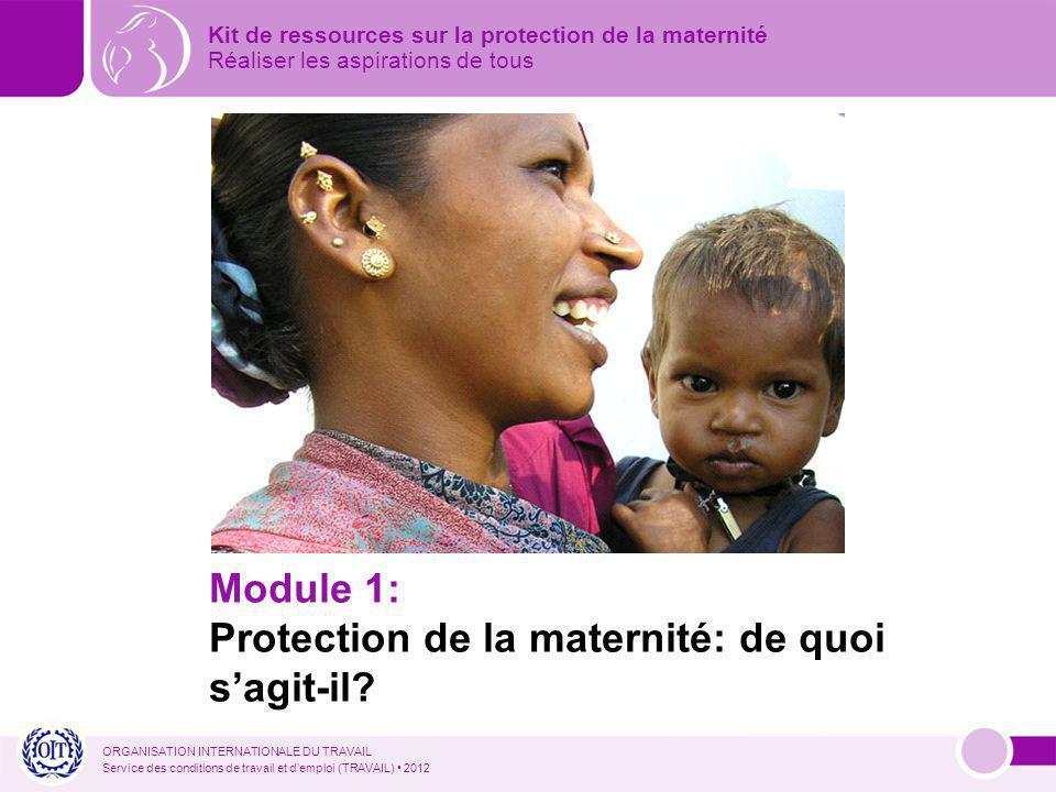 ORGANISATION INTERNATIONALE DU TRAVAIL Service des conditions de travail et demploi (TRAVAIL) 2012 Kit de ressources sur la protection de la maternité Réaliser les aspirations de tous Module 1: Protection de la maternité: de quoi sagit-il