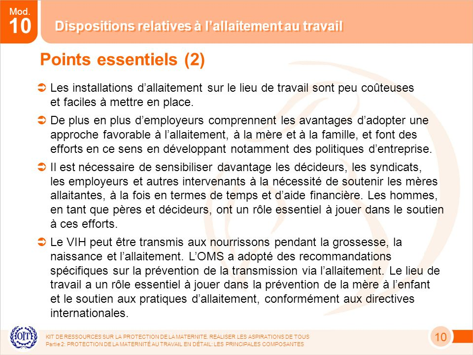 Mod. 10 KIT DE RESSOURCES SUR LA PROTECTION DE LA MATERNITE.