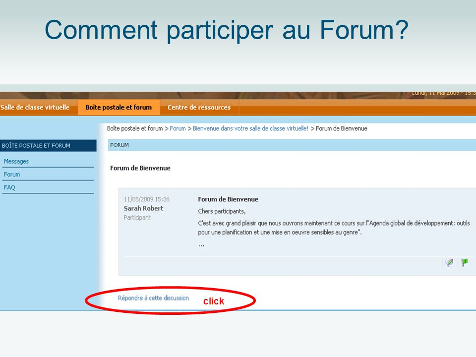 Comment participer au Forum