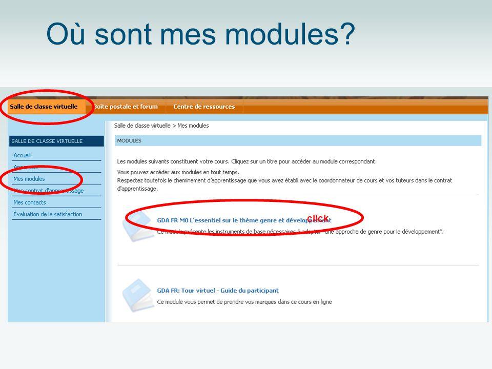 Où sont mes modules? click