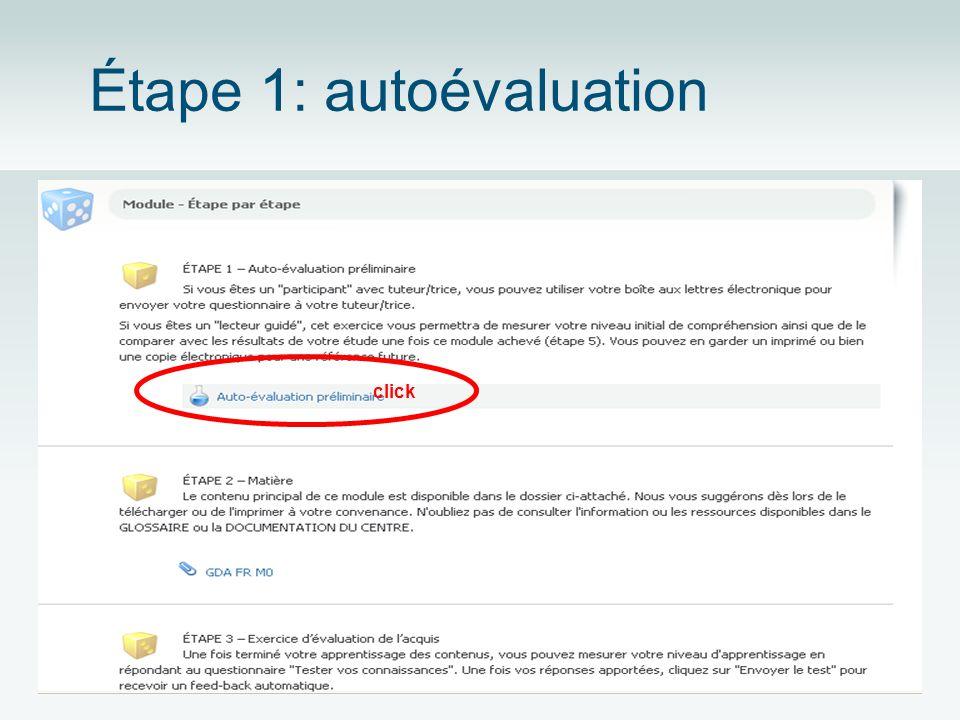 Étape 1: autoévaluation click