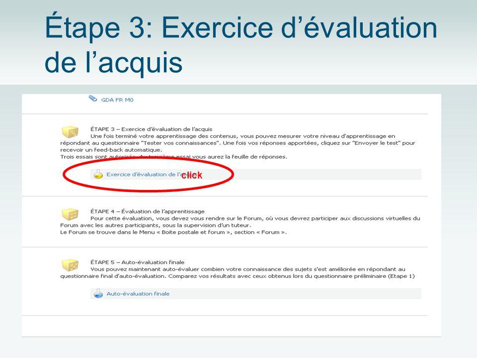 Étape 3: Exercice dévaluation de lacquis click