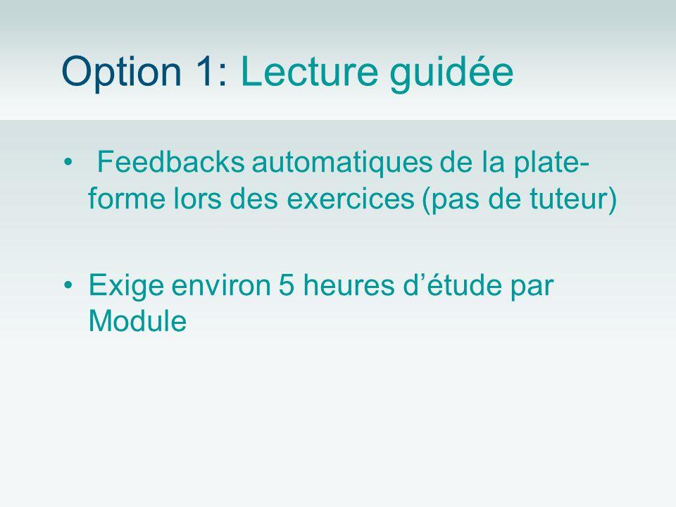 Option 1: Lecture guidée Feedbacks automatiques de la plate- forme lors des exercices (pas de tuteur) Exige environ 5 heures détude par Module