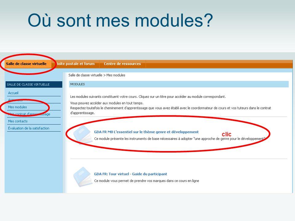 Où sont mes modules? clic