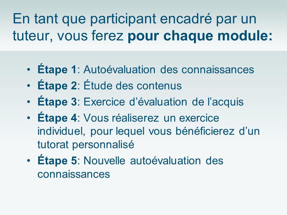 En tant que participant encadré par un tuteur, vous ferez pour chaque module: Étape 1: Autoévaluation des connaissances Étape 2: Étude des contenus Ét