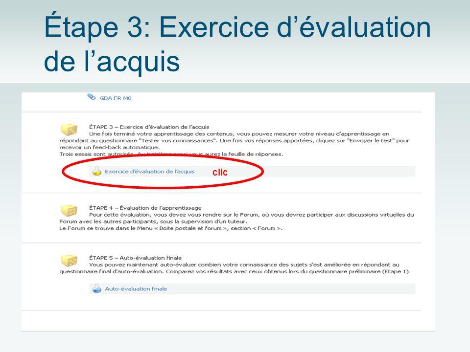 Étape 3: Exercice dévaluation de lacquis clic