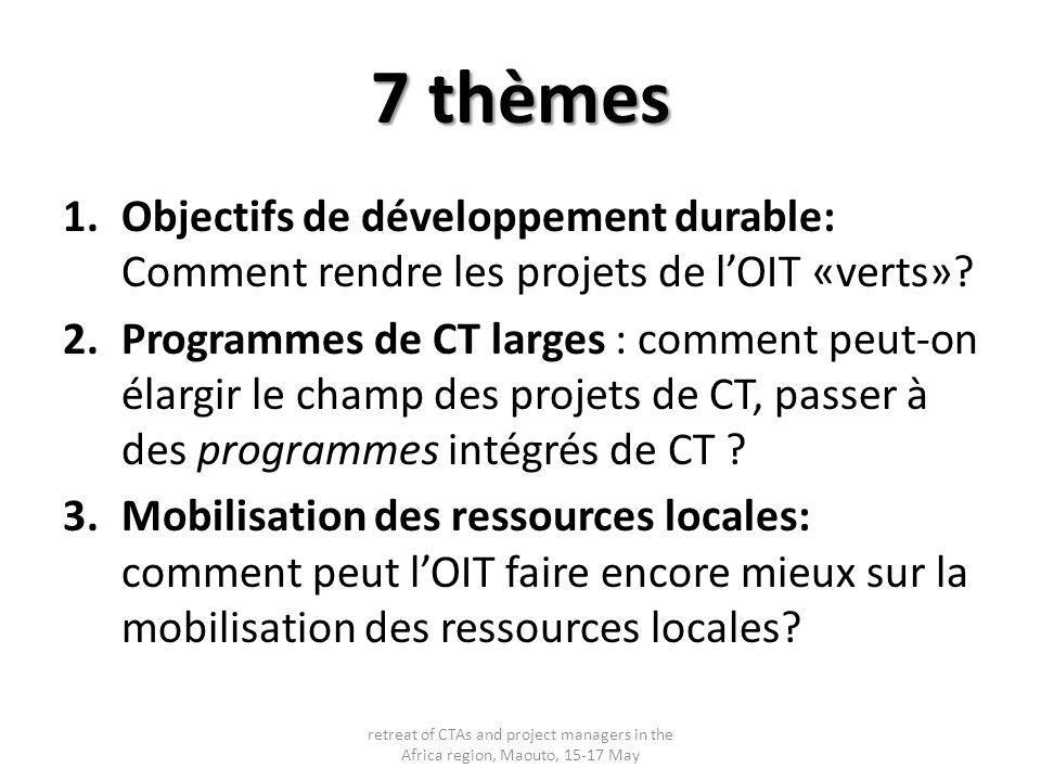 7 thèmes 1.Objectifs de développement durable: Comment rendre les projets de lOIT «verts»? 2.Programmes de CT larges : comment peut-on élargir le cham