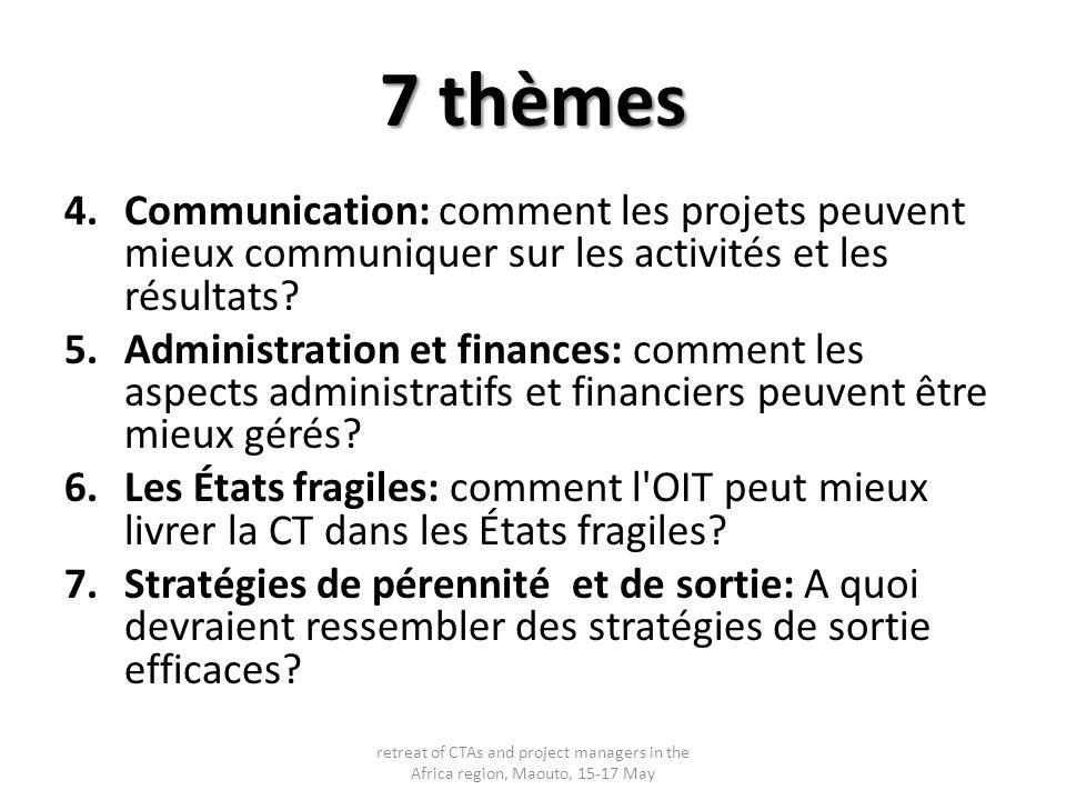 7 thèmes 4.Communication: comment les projets peuvent mieux communiquer sur les activités et les résultats? 5.Administration et finances: comment les