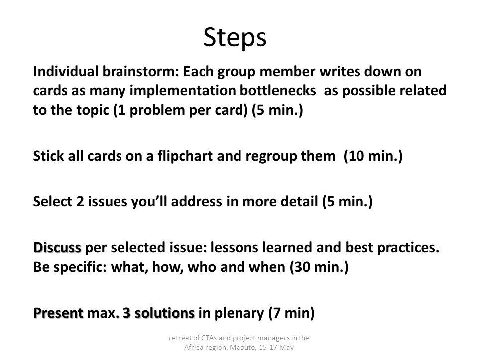 Etapes Chaque membre du groupe écrit sur des cartes des problèmes liés au sujet.