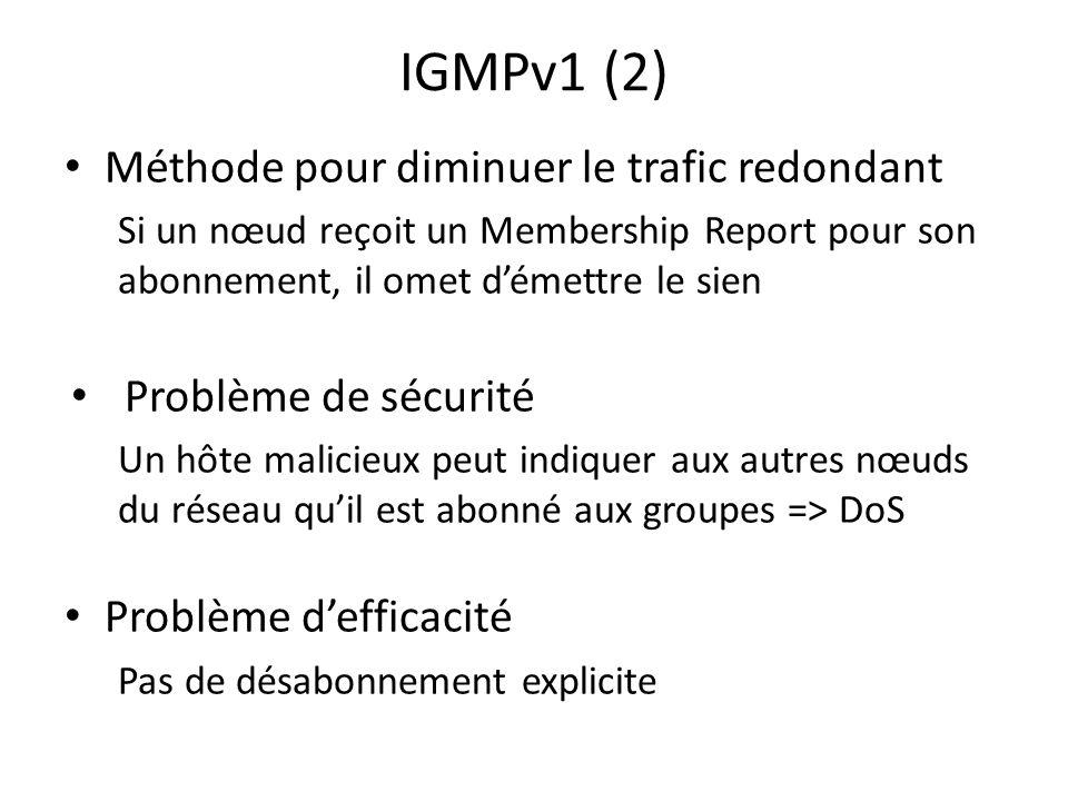 IGMPv1 (2) Méthode pour diminuer le trafic redondant Si un nœud reçoit un Membership Report pour son abonnement, il omet démettre le sien Problème de sécurité Un hôte malicieux peut indiquer aux autres nœuds du réseau quil est abonné aux groupes => DoS Problème defficacité Pas de désabonnement explicite