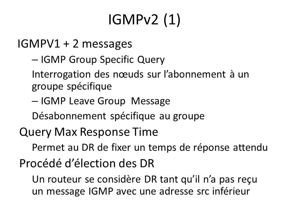 IGMPv2 (1) IGMPV1 + 2 messages – IGMP Group Specific Query Interrogation des nœuds sur labonnement à un groupe spécifique – IGMP Leave Group Message D