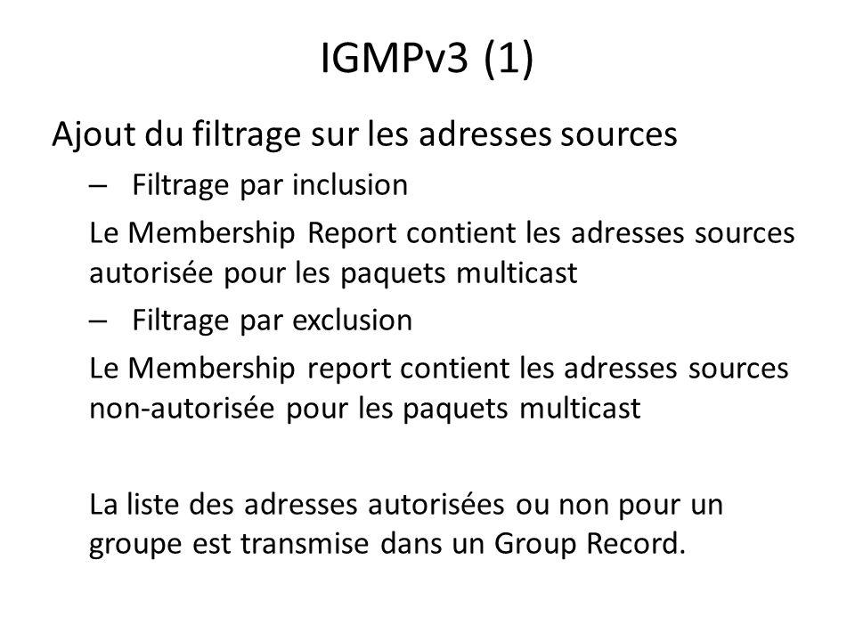 IGMPv3 (1) Ajout du filtrage sur les adresses sources – Filtrage par inclusion Le Membership Report contient les adresses sources autorisée pour les p