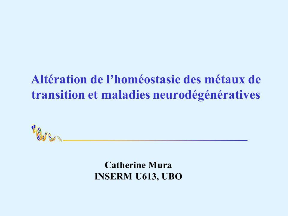 Altération de lhoméostasie des métaux de transition et maladies neurodégénératives Catherine Mura INSERM U613, UBO