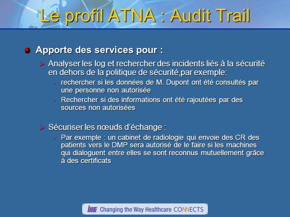Le profil ATNA : Audit Trail Apporte des services pour : Analyser les log et rechercher des incidents liés à la sécurité en dehors de la politique de sécurité,par exemple: Analyser les log et rechercher des incidents liés à la sécurité en dehors de la politique de sécurité,par exemple: rechercher si les données de M.