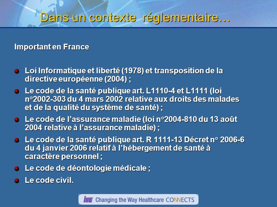 Dans un contexte réglementaire… Important en France Loi Informatique et liberté (1978) et transposition de la directive européenne (2004) ; Le code de la santé publique art.