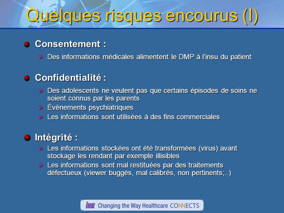 Quelques risques encourus (I) Consentement : Des informations médicales alimentent le DMP à linsu du patient Des informations médicales alimentent le