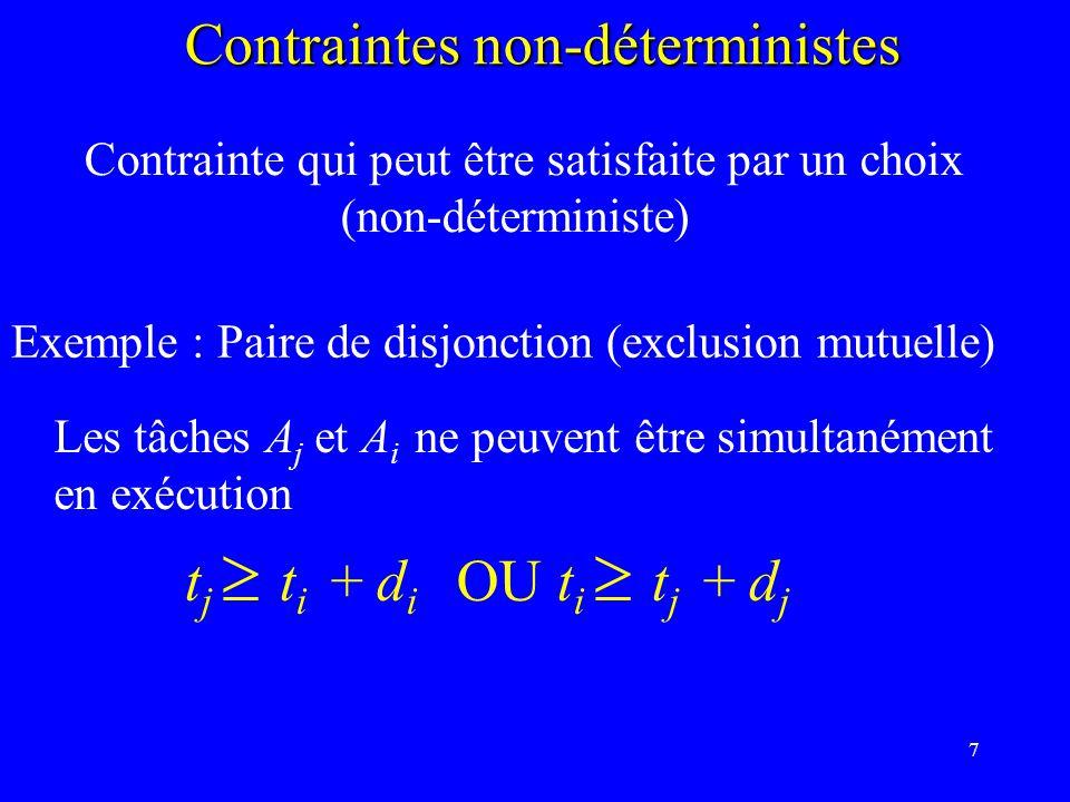 7 Contraintes non-déterministes Contrainte qui peut être satisfaite par un choix (non-déterministe) Exemple : Paire de disjonction (exclusion mutuelle) Les tâches A j et A i ne peuvent être simultanément en exécution t j t i + d i OU t i t j + d j